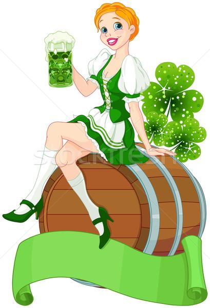 St. Patrick Day girl on the keg  Stock photo © Dazdraperma