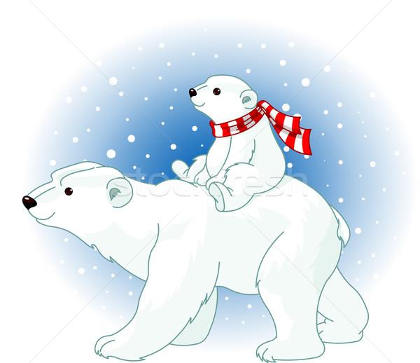 Urso polar mamãe bebê equitação de volta família Foto stock © Dazdraperma