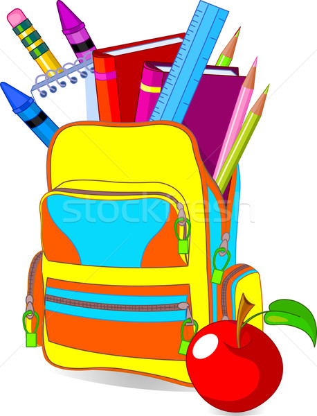Vissza az iskolába kép tartalom iskola táska Stock fotó © Dazdraperma