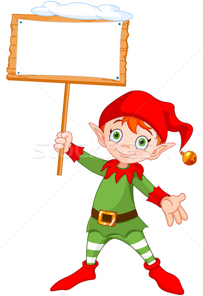 Christmas elf teken illustratie cute Stockfoto © Dazdraperma