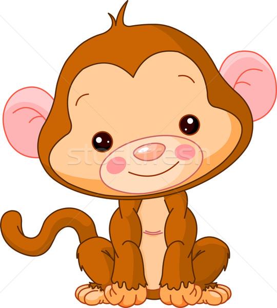 Leuk dierentuin aap illustratie cute baby Stockfoto © Dazdraperma