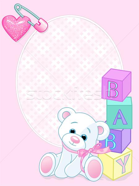 Stockfoto: Baby · roze · aankomst · kaart · ontwerp · teddybeer