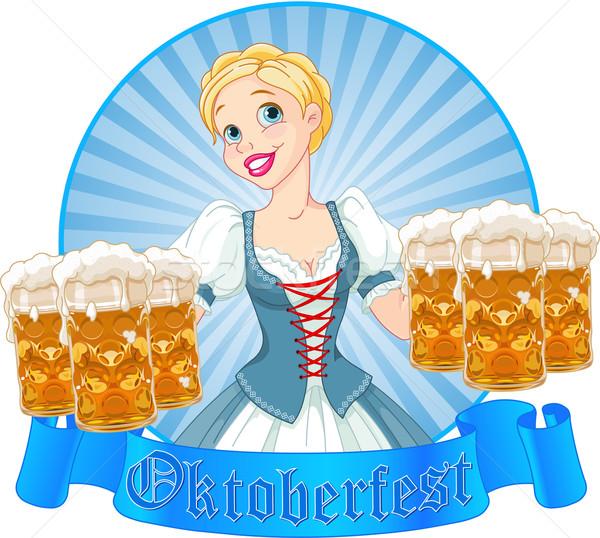 Oktoberfest girl label Stock photo © Dazdraperma
