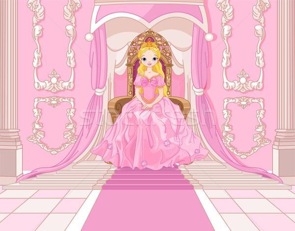 Princesa trono encantador rosa ouvir ouro Foto stock © Dazdraperma