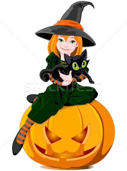 Halloween witch holds cat Stock photo © Dazdraperma