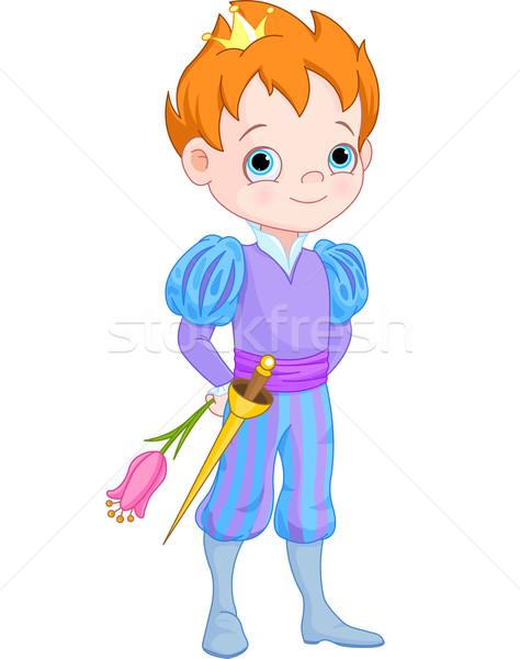 Sevimli küçük prens çiçek örnek taç Stok fotoğraf © Dazdraperma