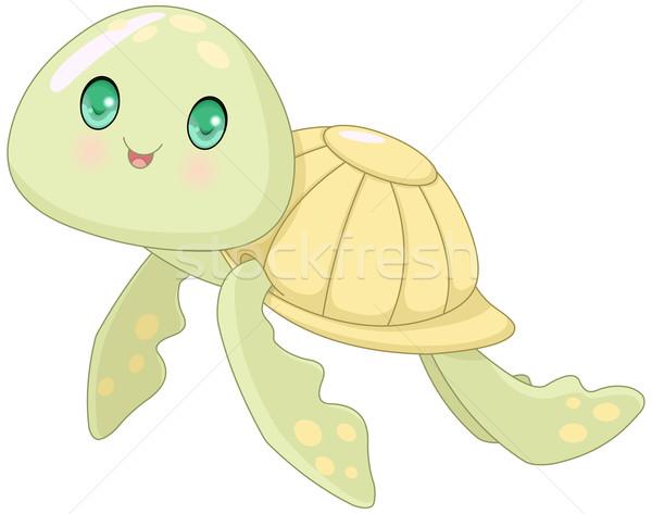 Aranyos teknős rajz illusztráció baba hal Stock fotó © Dazdraperma