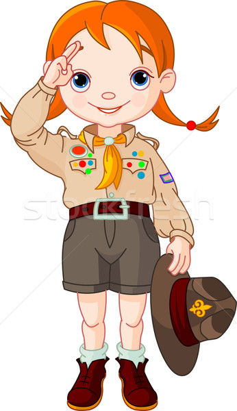 Boy scout girl doing a hand sign Stock photo © Dazdraperma