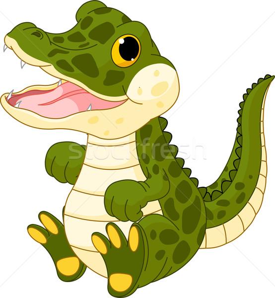Baby Krokodil Illustration cute Kinder Natur Stock foto © Dazdraperma