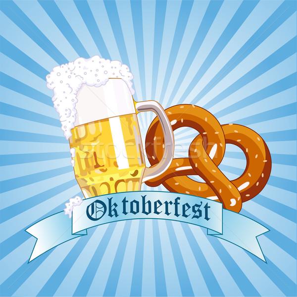 Oktoberfest uroczystości pionowy kopia przestrzeń sztuki niebieski Zdjęcia stock © Dazdraperma