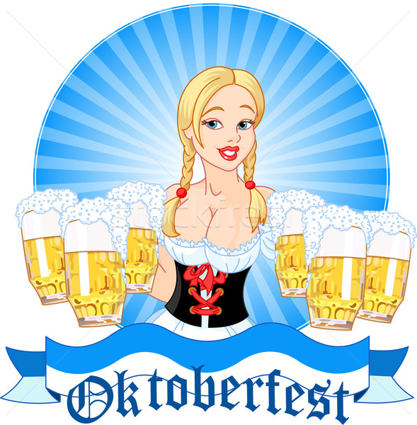 Oktoberfest girl serving beer Stock photo © Dazdraperma