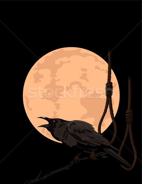 Crow croaks against a full moon Stock photo © Dazdraperma