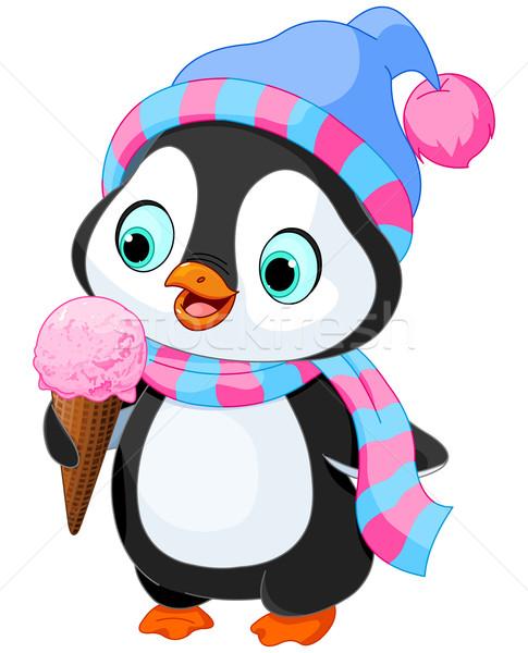 Pingvin fagylalt aranyos kalap sál művészet Stock fotó © Dazdraperma