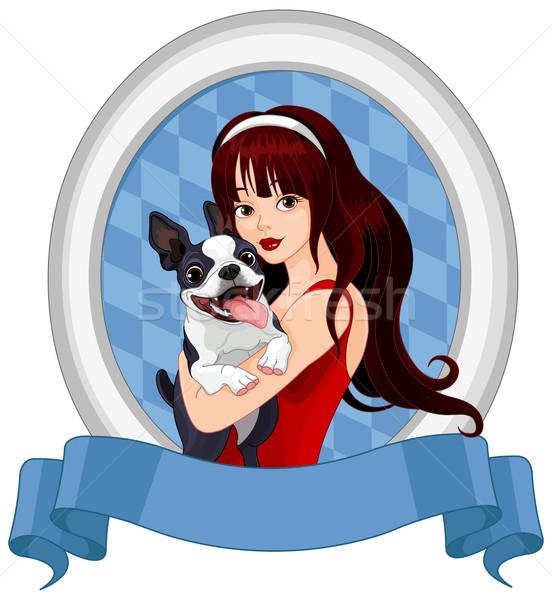Girl with Boston Terrier Stock photo © Dazdraperma