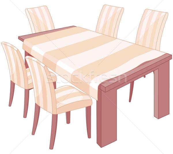 Eettafel illustratie keuken kunst restaurant tabel Stockfoto © Dazdraperma