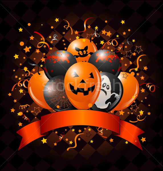 Halloween ballons design confettis espace de copie ruban Photo stock © Dazdraperma