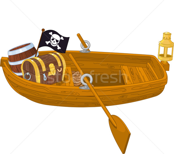 Roeiboot illustratie houten piraat boot water Stockfoto © Dazdraperma