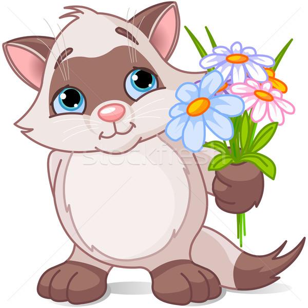 Cute kitten with flowers Stock photo © Dazdraperma