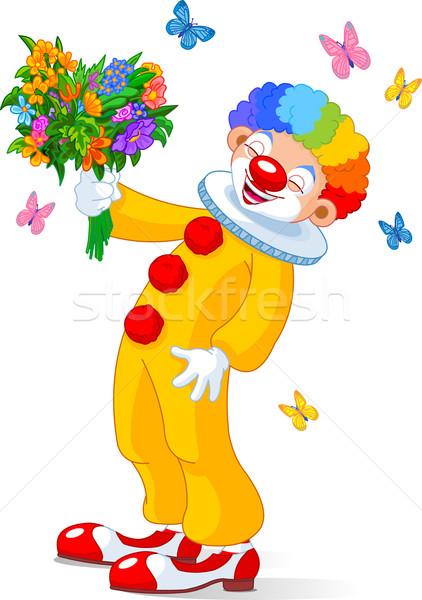 Cute Clown with flowers Stock photo © Dazdraperma