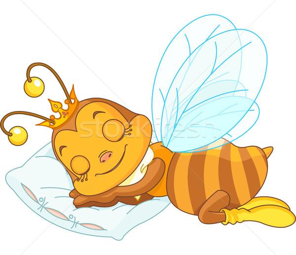 Alszik méh imádnivaló párna rajz citromsárga Stock fotó © Dazdraperma