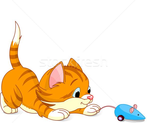 Stockfoto: Kitten · afbeelding · spelen · speelgoed · muis