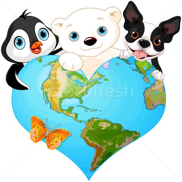 Earth heart with animals Stock photo © Dazdraperma