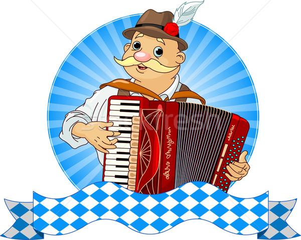 Oktoberfest accordeon speler streep tekst kunst Stockfoto © Dazdraperma