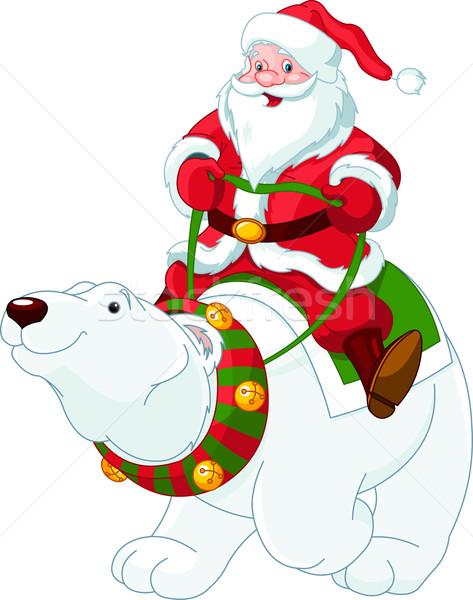 Kerstman paardrijden ijsbeer Maakt een reservekopie vriendelijk winter Stockfoto © Dazdraperma