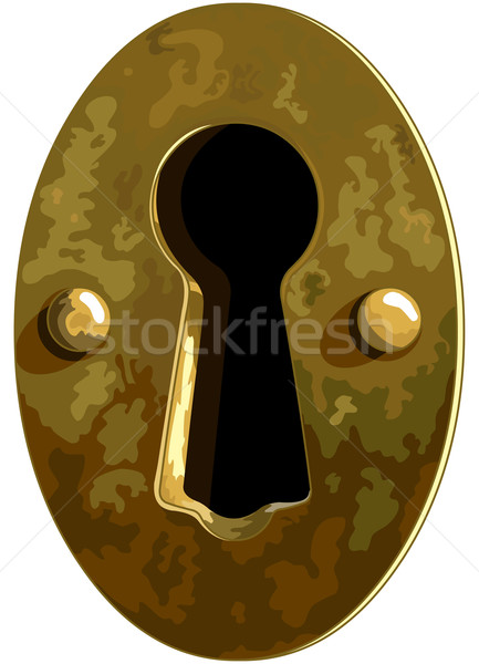 Ojo de la cerradura ilustración antiguos bronce bloqueo tarjetas Foto stock © Dazdraperma