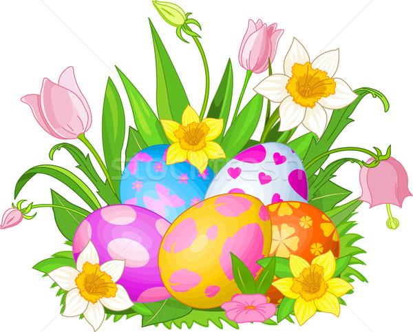 Foto stock: Huevos · de · Pascua · hierba · ilustración · hermosa · flores · flor