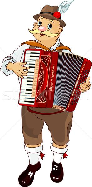 Oktoberfest accordeon speler Duitsland muzikant spelen Stockfoto © Dazdraperma