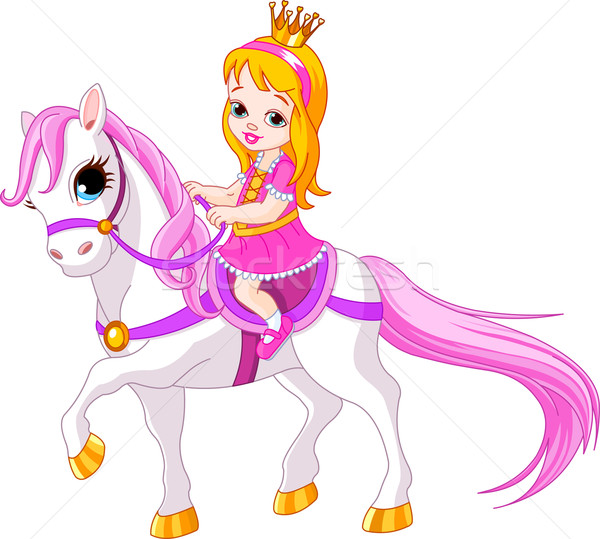 Little princess on horse Stock photo © Dazdraperma