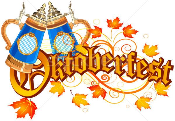 Oktoberfest ünneplés terv üveg sör őszi levelek Stock fotó © Dazdraperma
