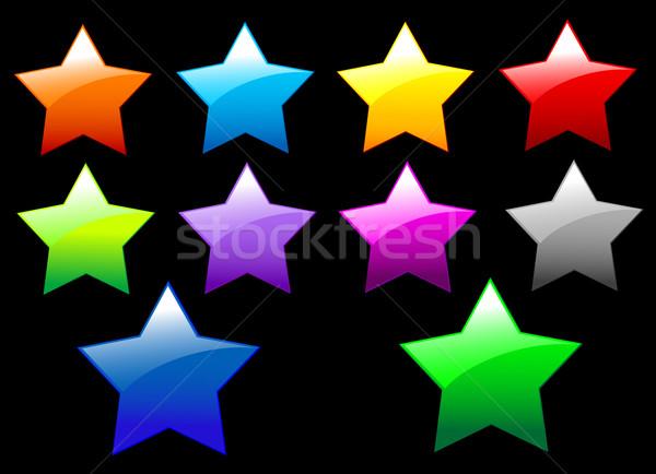 Basit parlak Yıldız düğmeler ayarlamak siyah Stok fotoğraf © Dazdraperma