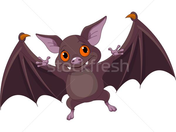Halloween bat vliegen illustratie cute cartoon Stockfoto © Dazdraperma