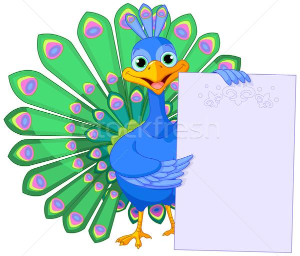 Peacock holding placard Stock photo © Dazdraperma
