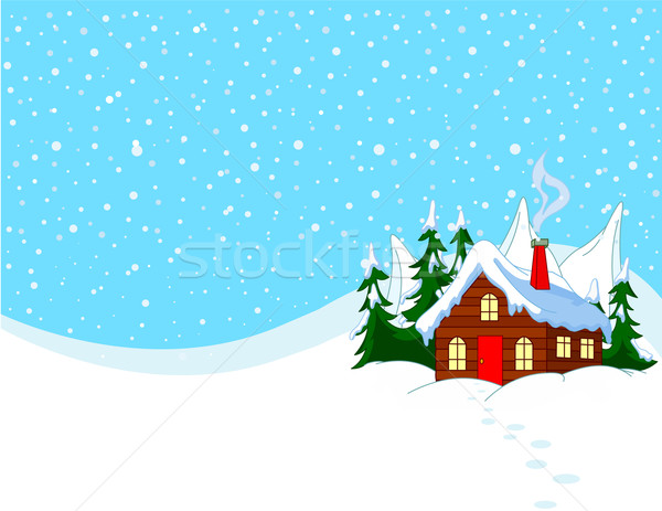 Stock photo: Little house in snowy hills