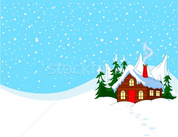 Kicsi ház dombok téli tájkép természet fény Stock fotó © Dazdraperma