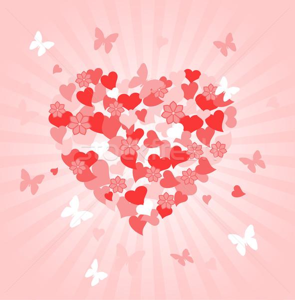 Valentijnsdag hart hartvorm steeg vlinder Stockfoto © Dazdraperma