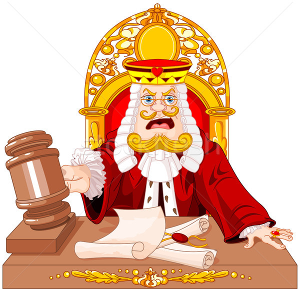 Koning harten rechter hamer vonnis recht Stockfoto © Dazdraperma