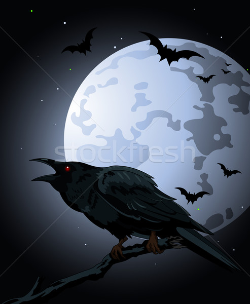 Crow  against a full moon Stock photo © Dazdraperma