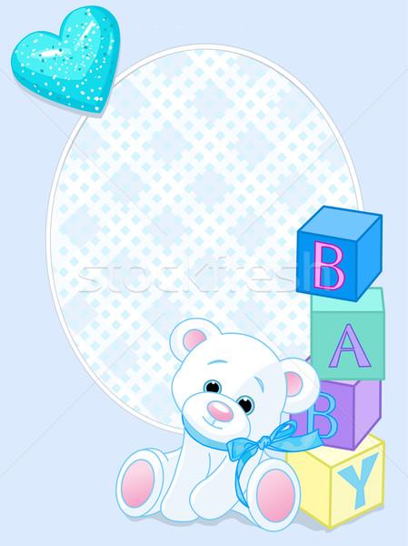 Baby blu arrivo carta design orsacchiotto Foto d'archivio © Dazdraperma