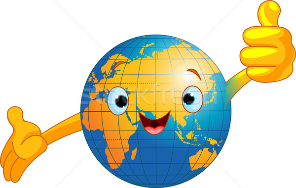 Stock fotó: Világ · földgömb · karakter · rajz · remek · öreg