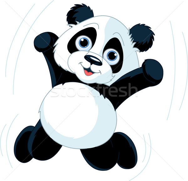 Feliz panda cute saltar aire Cartoon Foto stock © Dazdraperma