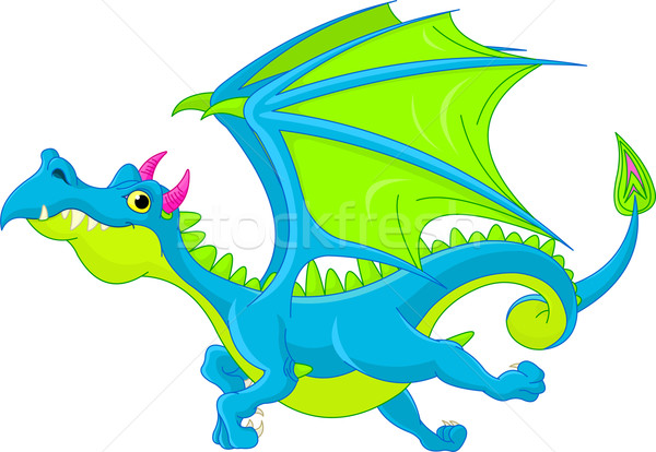 Cartoon battenti Dragon illustrazione cute blu Foto d'archivio © Dazdraperma
