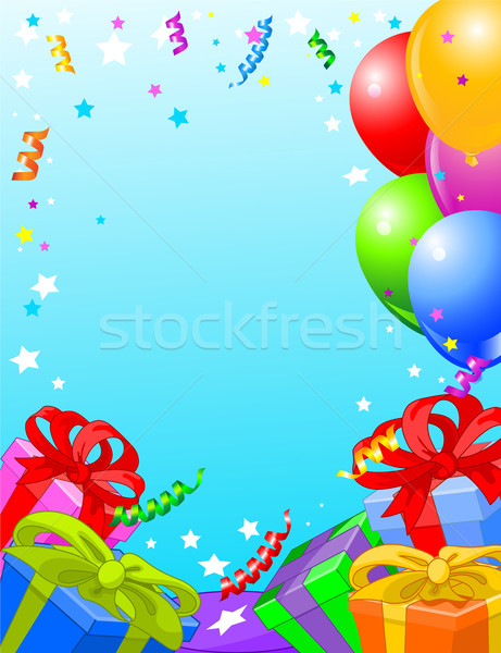 Stockfoto: Verjaardagsfeest · kaart · partij · verticaal · geschenken · ballonnen
