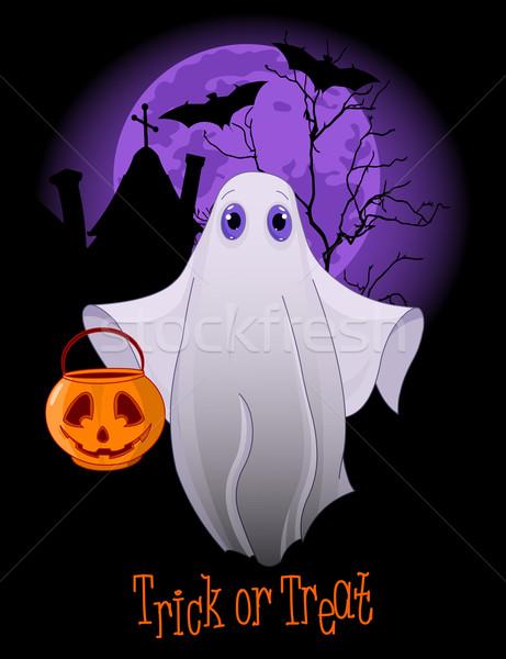 Stockfoto: Truc · spook · halloween · uitnodiging · huis · maan