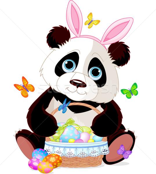 Aranyos panda húsvét kosár tart tele Stock fotó © Dazdraperma