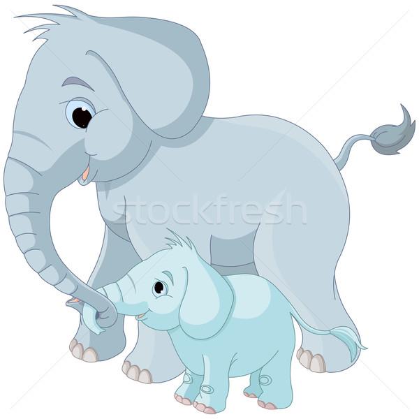 Cute elephant family Stock photo © Dazdraperma