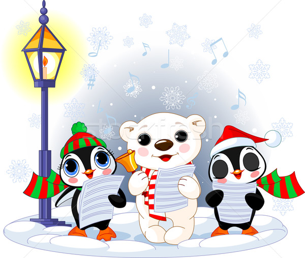 Christmas carolers –  polar bear and two penguins Stock photo © Dazdraperma